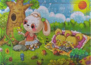 پازل چوبی 60 تکه 30*22 (خرگوش و دو بچه موش)