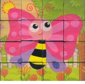 پازل چوبی 6 وجهی 16تایی 12*12 حشرات1