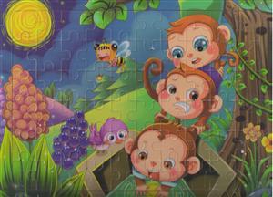پازل چوبی 60 تکه 30*22 (سه بچه میمون)