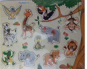پازل چوبی پین دار 30*20 حیوانات جنگل (زمینه کرم)