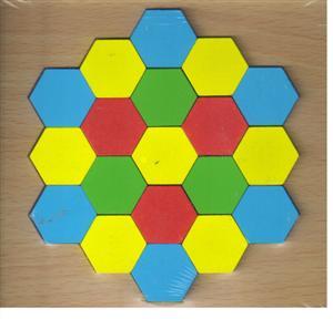 پازل چوبی  اشکال مختلف 15*15 (لانه زنبوری 19 تکه)