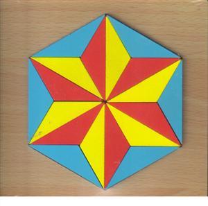 پازل چوبی  اشکال مختلف 15*15 (ستاره در شش ضلعی 18 تکه)