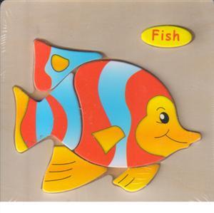 پازل چوبی برجسته 15*15 (6تکه ماهی)