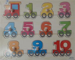 پازل چوبی پین دار 30*20  مفهوم اعداد قطاری
