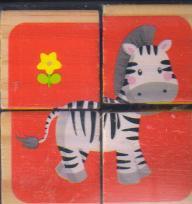 پازل چوبی 6 وجهی 4تایی 7*7 حیوانات جنگل